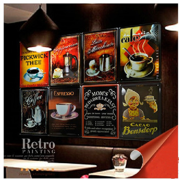 coffee impression  Metal Sign Sheet Painting Wall Drawing oil Painting Decoration  For Pub Bar panel wall art