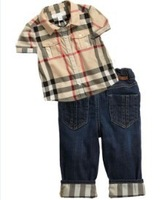 2013 Free Shipping--Boys check shirt  2pcs set, baby fashion brand summer outfit grid T-shirt and Jeans trousers,SIZE:18m-6Y