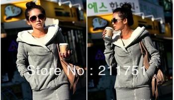 2013 hot sale Korean fashion outfit  inclined zipper lady women girl hooded fleece jacket