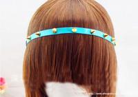 Fashion Rivet Spike Studs Rhinestone Leather Headband Hairband Punk Rock Hiphop Headwear Wholesales