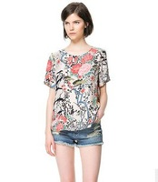 2013 New Arrival  Fashion Women  Irregular Peony Pattern Print O-Neck Short Seeve Chiffon Blouses Ladies  Casual Shirt Tops