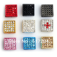 10 Color Choice! Square Rhinestone Alloy Beads High Quality For Shamballa Bracelet 50pcs/lot Wholesale Free Shipping