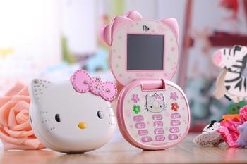 2014 high quality Fashion Cartoon Mobile phone Dual SIM card Hello Kitty kid children Russian keyboard cell phone Free shipping