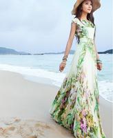 2014 summer elegant slim women's chiffon full dress expansion bottom double layer ruffle maxi dress bohemia long beach dress