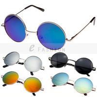 Free Shipping! Hot Fashion New Goggles Fashion Women Summer Shade Round Style Multicoloured Mirror UV400 Sunglasses 120-0019