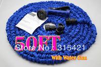 1pcs/lot 50FT Flexible Expandable hose Irrigation Water Hose Blue Color With Spary Gun