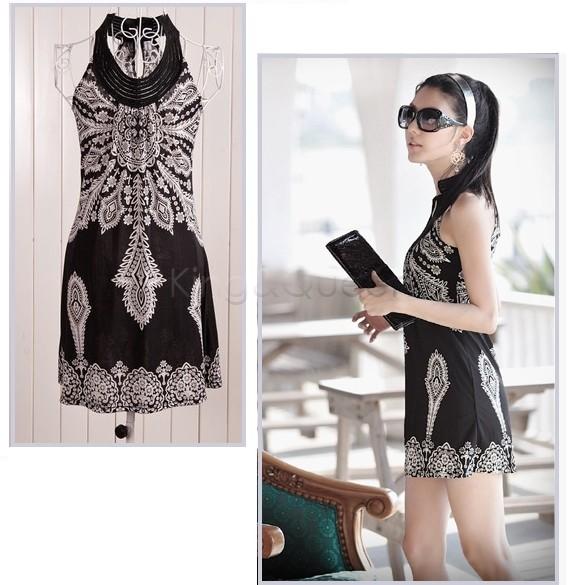 Wholesale - Newest floral prints ladies' slimm spaghetti strap dress Classic Vintage Collar Exotic Mini Dress 2colors 3166(China (Mainland))