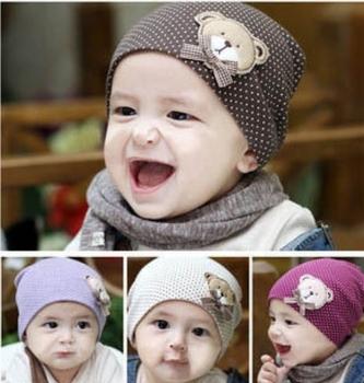 Free Shipping 5 Pcs Big Size 18.5*18.5 cm Cute Bear Baby Cap Kids Cotton Beanie Infant Hat Children Baby Hats TS0015  Wholesale