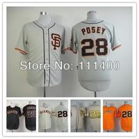 Free shipping Men's Baseball Jerseys San Francisco Giants #28 Buster Posey black cream orange gray Cool base Size:48-56