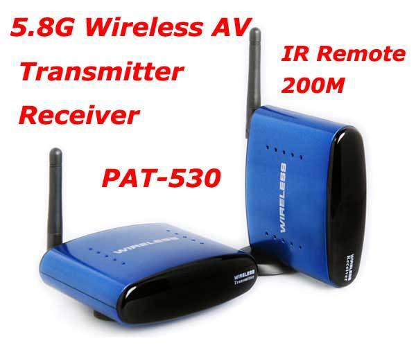 Hotsales PAT-530 5.8G Wireless AV TV Audio Video Sender Transmitter Receiver IR Remote for IPTV DVD STB DVR free shipping(China (Mainland))