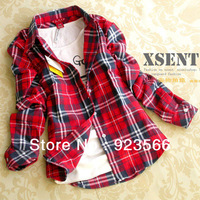 Free shipping 13 colors 0516A TOP Quality Plus size Long Sleeve Cotton The Cowards Plaid Checkered Shirts women