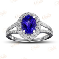 14K White Gold Natural 0.43ct Brilliant Cut Diamond 1.68ct FlawlessTanzanite Ring Gemstone Jewelry Free Shipping