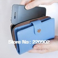 Free Shipping 2013 Fashion Zip Fastener Women wallet for Iphone 4/4s/5 / High Quality PU Leather Lady's Purse Hot Selling
