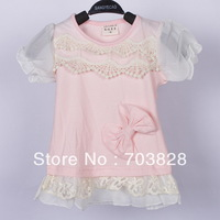 Free shipping Lace decoration Girls shirts baby summer t-shirts Kids tops Children's summer clothing Child garments
