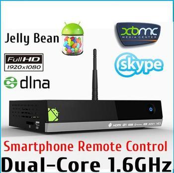 Original MX5 Dual Core Android Smart TV Box XBMC Media Player Center Smartphone Remote Control AMLogic 8726 M6 Free Shipping