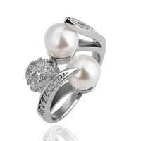 Freshwater Pearl Women Ring Korean Unique Luxurious Crystal 18K Platinum  Free Shipping