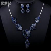 rhinestone austrian crystal jewelry sets Blue Glass Crystal rhinestones jewelry sets wedding for Woman costume jewelry