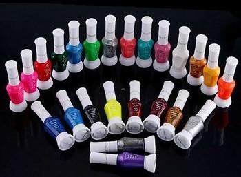 24 Colors Mix Colors Pure Glitter 2 Way Nail Art Tips Varnish Polish Brush Pen Free Shipping