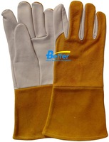Free Shipping!! 14 Inch Grain Goatskin Split Cowhide Leather TIG MIG Glove Comflex Leather Welding Work Glove