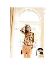 Chic sexy long sleeve stand collar  V-neck loose shirt  tiger print shirt  Top blouse Free Shipping 5377