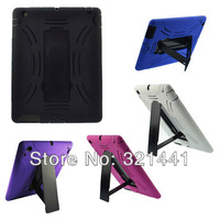 5 Colors Impact Rugged Heavy Duty Kickstand Protector Case Cover For Apple iPad 4 3 2 The New iPad + Free Gift Stylus Pen