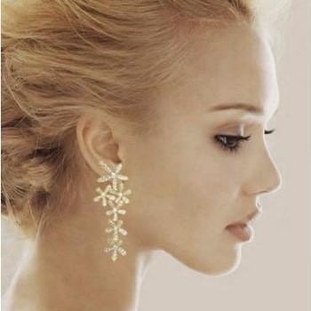 Fashion Rhinestone Flower long Rhinestone Snowflake big Dangle earrings jewelry for women 2014 wholesale free shipping PT31