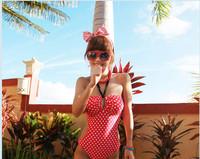 Vintage Womens Keyhole Halter One Piece Monokini Polka Dot Bathing Suit Swimsuit