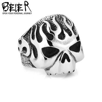 US Size 8-15 Hot Wholesale Biker Flame Skull Skeleton Rings Stainless Steel Heavy Metal Punk Jewelry  HD BR8203