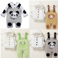 Hot Sale!Wholesale,1Lot=3Set!2013Spring Baby girls boys animal suit jacket+suspender trousers with 3styles:panda,frog,monkey