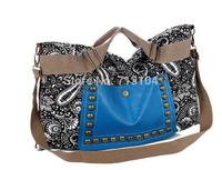 Designer 2014 Fashion vintage  women canvas print handbag,  ladies female desigual rivet punk bag women travel handbag  bolsas