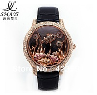 SMAYS A1214 the sea fish world creative Korean fashion Rhinestone leather strap round dial quartz movement Women's Watch