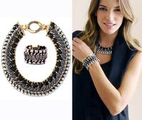 Wide black brand jewelry set big vintage fashion designer braided mental choker necklace bracelet women jewelry set