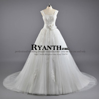 2013 fashion bag tube top princess  handmade flower lace train cap sleeve laceup wedding dresses