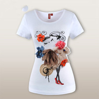 New style handmade 3D Flowers dress beautiful lady big size short sleeve women t shirt K0068 Free shipping