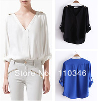 Women Elegant Chiffon Blouse Top White Blue Black Long Sleeve V-neck Golden Rivet Loose Casual Shirts Blouses Free Shipping