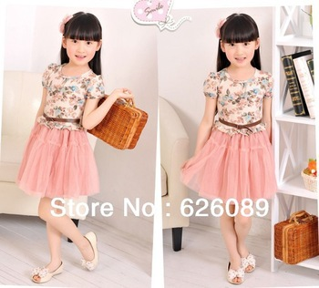 hot sale!  Free Shipping retail girls dress children baby white gauze broken beautiful princess dress with short sleeves zdd