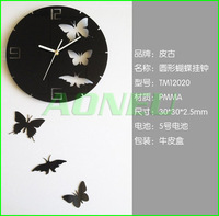 Free shipping New Fashion Art Design Modern Style Timer Large Home Decor DIY Butterfly Wall Clock with retail package Black/Red