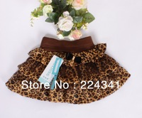 Wholesale,free shipping,3colors 4pcs/lot 2013 New Girls Summer Skirts Kids Leopard Cake skirt Girls Bow Triple Skirts tutu skirt
