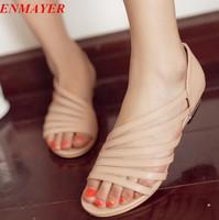 ENMAYER New hot wedding flower platform flat sandals for women and women's summer shoes big size flip flops drop shipping