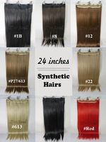 "ZS New One 24"" Synthetic Fiber Straight Hair Extensions Width 11"" 130g 6Clips On Prom Cap hairpiece Pure More  Colors"