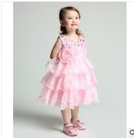 New 2014 European And American Style Foreign trade Girl clothing Kids Dress Beads Piece Through Flowers Big Flower Cake Dress