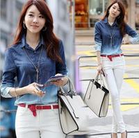 2014 Autumn Women Shirts Gradient Pattern Cotton Blouse Jeans OL Lady Casual Loose Tops High Street Denim Shirt Plus Size XL XXL