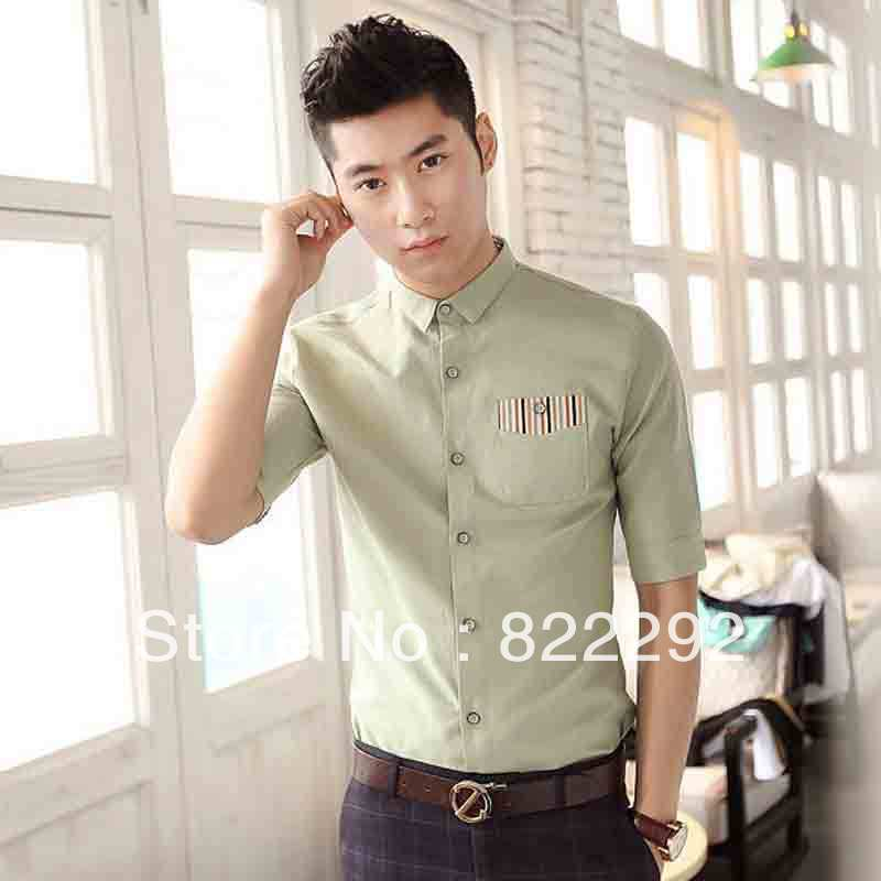 Free shipping 2013 summer new fashion stripe edge sleeve shirt in cotton and linen leisure cultivate one's morality men(China (Mainland))