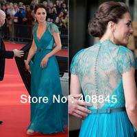 Best Selling Custom Made kate middleton Chiffon V neck Lace Sash beading floor length celebrity dresses blue evening dresses