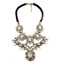 Free shipping pink necklace women fashion exaggerated Resin Ribbon Bib Statement Chunky Necklaces statement necklace crystal