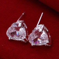 Free shipping 925 sterling silver jewelry earring fine white crystal heart stud earring wholesale and retail SMTE087