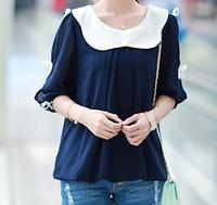 (Free shipping)2014 new spring women summer fashion loose short-sleeve peter pan collar basic chiffon the cowards shirt retail