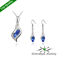 Free Shipping High Quality 18K Platinum Plated Austrian Crystals Jewelry Set Necklace & Drop Earrings    fairy Angel Elf