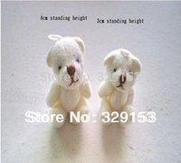 Free shipping H-4cm cream white  lovely Mini Stuffed Jointed Bear Gift Flower Packing Teddy Bear 100pcs/lot