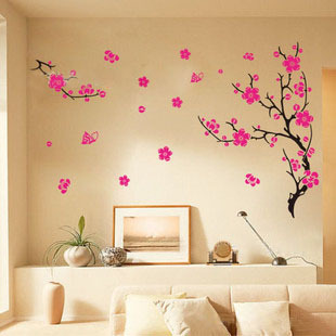 Low Cheap Vinyl Flowers Wall Stickers Home Decor Wall Decals for Bathroom Removable Wallpaper 45*60cm Free Shipping(China (Mainland))